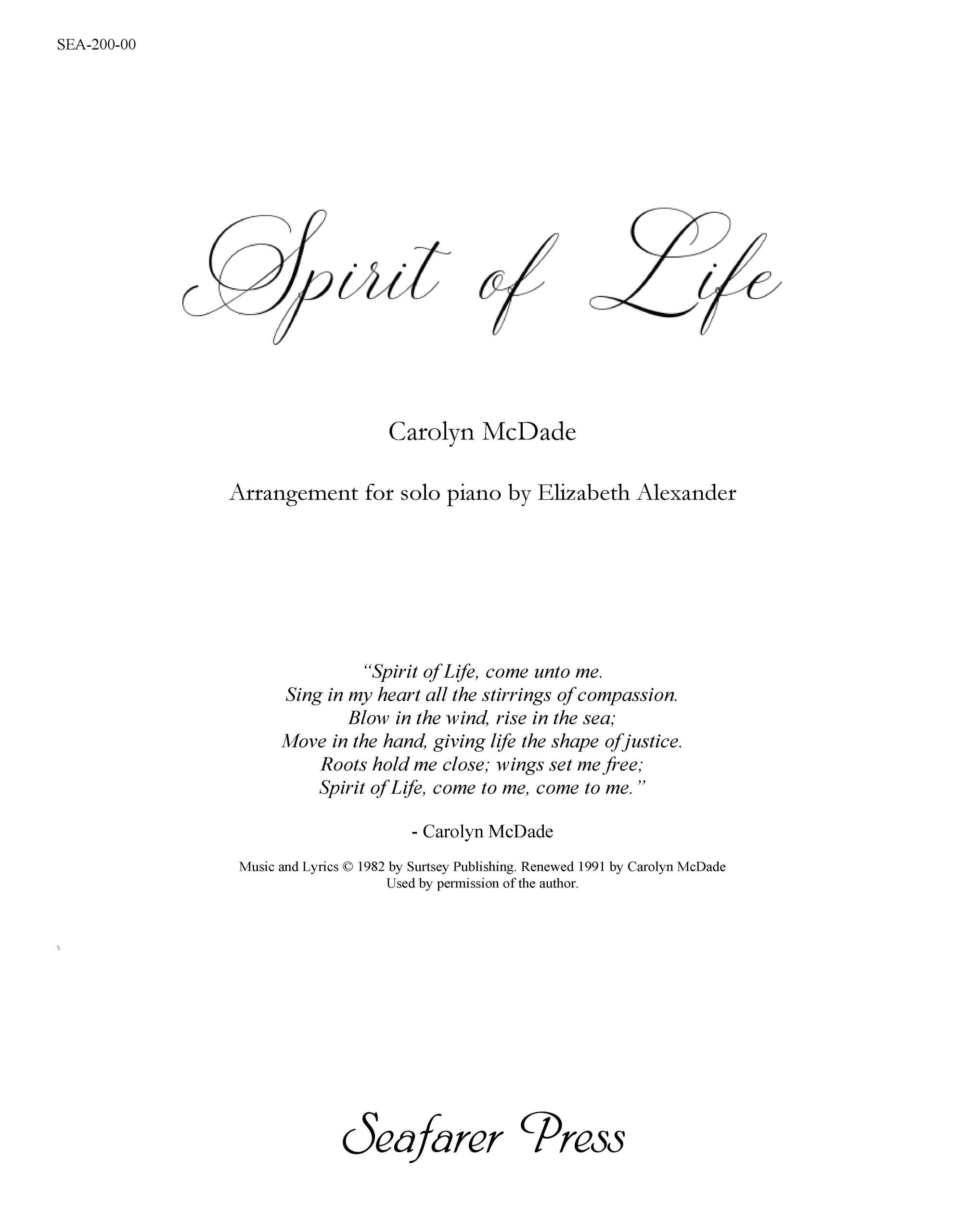 SEA-200-00 - Spirit of Life (arr.)