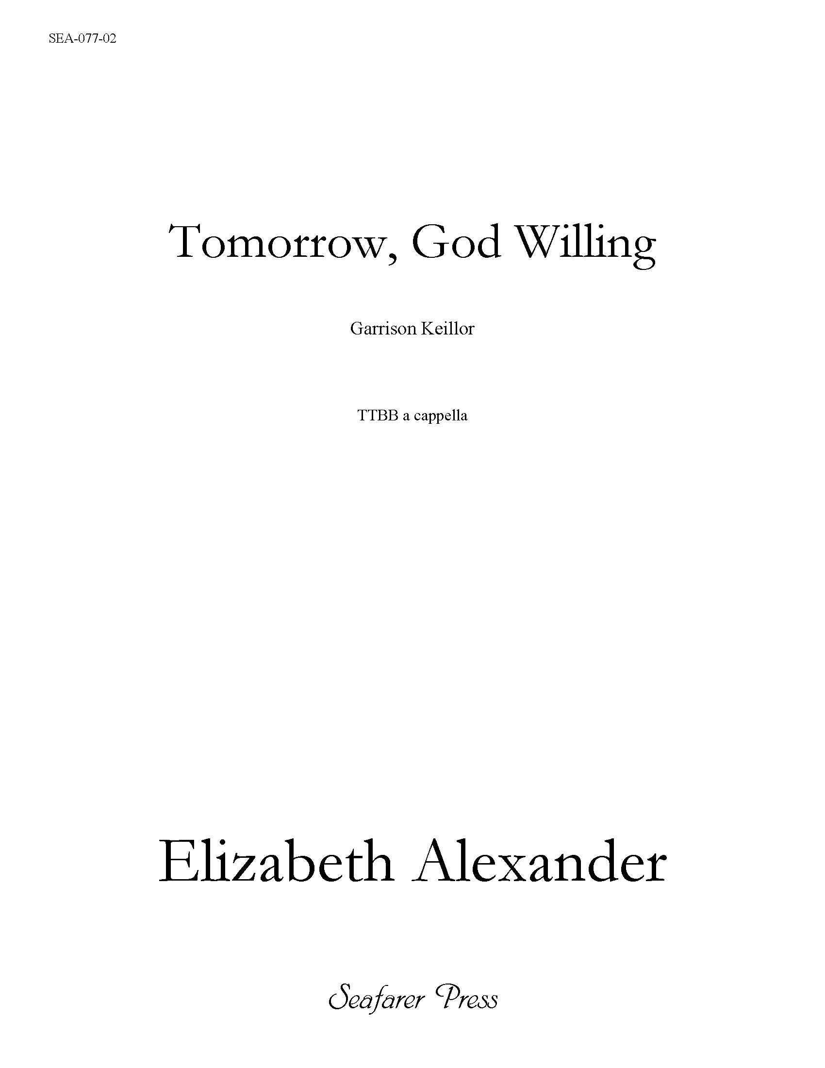 SEA-077-02 - Tomorrow, God Willing